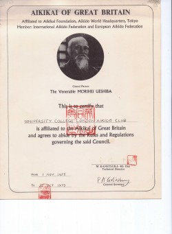 Club Affiliation Certificate 1978