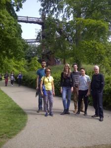 Kew group Muhammed, Paula, Aurore, Casey, Patrick, Derek with Barbara taking photo